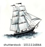 sailing ship. watercolor... | Shutterstock . vector #1011116866