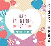 happy valentines day frame...   Shutterstock .eps vector #1011123778