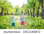 two happy children playing in...   Shutterstock . vector #1011140872
