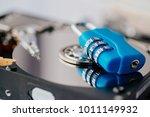 encrypted hard disk. padlock... | Shutterstock . vector #1011149932