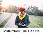 smiling hipster girl...   Shutterstock . vector #1011155446