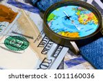watch with global map on cash... | Shutterstock . vector #1011160036