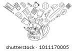school stationary flowing in... | Shutterstock .eps vector #1011170005