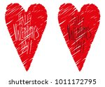 vector hearts with hand drawing ...   Shutterstock .eps vector #1011172795
