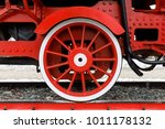 red wheel and detail of... | Shutterstock . vector #1011178132