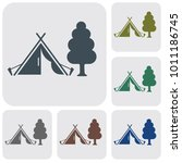 stylized icon of tourist tent.... | Shutterstock .eps vector #1011186745