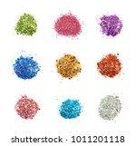 pile of colorful sequin bits... | Shutterstock . vector #1011201118