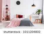 pink blanket on bed next to... | Shutterstock . vector #1011204832