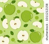 green apple seamless pattern.... | Shutterstock .eps vector #1011212158