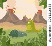 prehistoric wildlife. nature... | Shutterstock .eps vector #1011216658