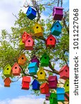 Many Bright Colored Birdhouses...