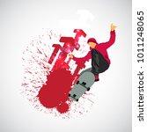 extreme jump  sport background   Shutterstock .eps vector #1011248065