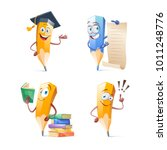 set of cute funny pencil... | Shutterstock .eps vector #1011248776
