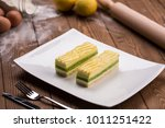 lemon and mint pastry on a... | Shutterstock . vector #1011251422