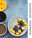 chia seed pudding  top view ... | Shutterstock . vector #1011251476