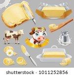 butter. milk farm. 3d realistic ... | Shutterstock .eps vector #1011252856