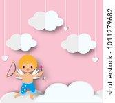 cute cupid boy with arrows... | Shutterstock .eps vector #1011279682