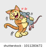 cat and mouse kissing mammal... | Shutterstock .eps vector #1011283672