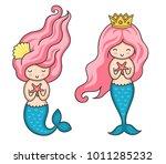 cute little mermaids with pink... | Shutterstock .eps vector #1011285232