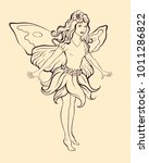 flower fairy girl with... | Shutterstock .eps vector #1011286822
