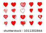 set of hand drawn red grunge... | Shutterstock .eps vector #1011302866