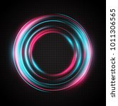 neon glow rings. a bright ... | Shutterstock .eps vector #1011306565