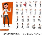 set of business woman character ... | Shutterstock .eps vector #1011327142