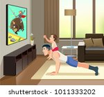the man pushup from the floor... | Shutterstock .eps vector #1011333202