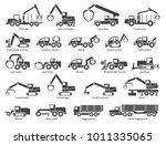 forestry machinery icons set.... | Shutterstock .eps vector #1011335065