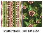a set of textures in a tropical ... | Shutterstock .eps vector #1011351655