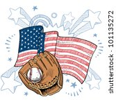 Doodle style baseball glove in front of colorful American flag sketch in vector format - stock vector
