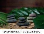 pyramids of gray zen stones.... | Shutterstock . vector #1011355492