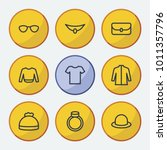 clothes icons set with jacket ...