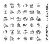 modern outline style gift icons ... | Shutterstock .eps vector #1011365062