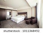 Stock photo photo of interior design of luxury hotel bedroom 1011368452