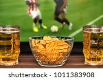 two glass of cold beer and... | Shutterstock . vector #1011383908