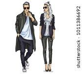 vector woman and man | Shutterstock .eps vector #1011386692
