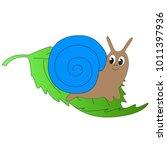 Cute Funny Cartoon Snail...