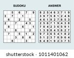 vector sudoku with answer.... | Shutterstock .eps vector #1011401062