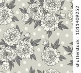 seamless pattern with peonies.... | Shutterstock .eps vector #1011409252