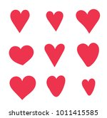 heart set red cute cartoon... | Shutterstock .eps vector #1011415585