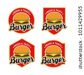 burger logo design vector set | Shutterstock .eps vector #1011429955