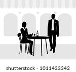 a young lady at a table in a... | Shutterstock .eps vector #1011433342
