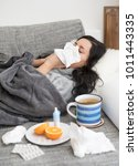 young woman having flu  feeling ... | Shutterstock . vector #1011443335
