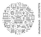 line web concept for computer... | Shutterstock .eps vector #1011447076