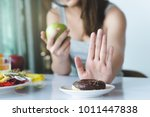 woman on dieting for good... | Shutterstock . vector #1011447838