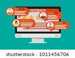 desktop pc with rating app.... | Shutterstock . vector #1011456706