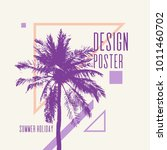 vintage poster with palm tree... | Shutterstock .eps vector #1011460702