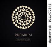 golden flower shape with hearts.... | Shutterstock .eps vector #1011472546
