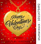 happy valentines day lettering...   Shutterstock .eps vector #1011475492